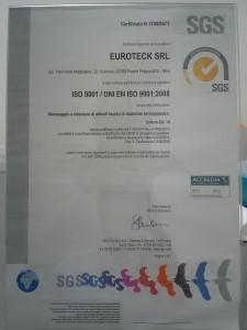 CERTIFICAZIONE QUALITA' ISO 9001 STAMPAGGIO MATERIE PLASTICHE EUROTECK SRL ABRUZZO