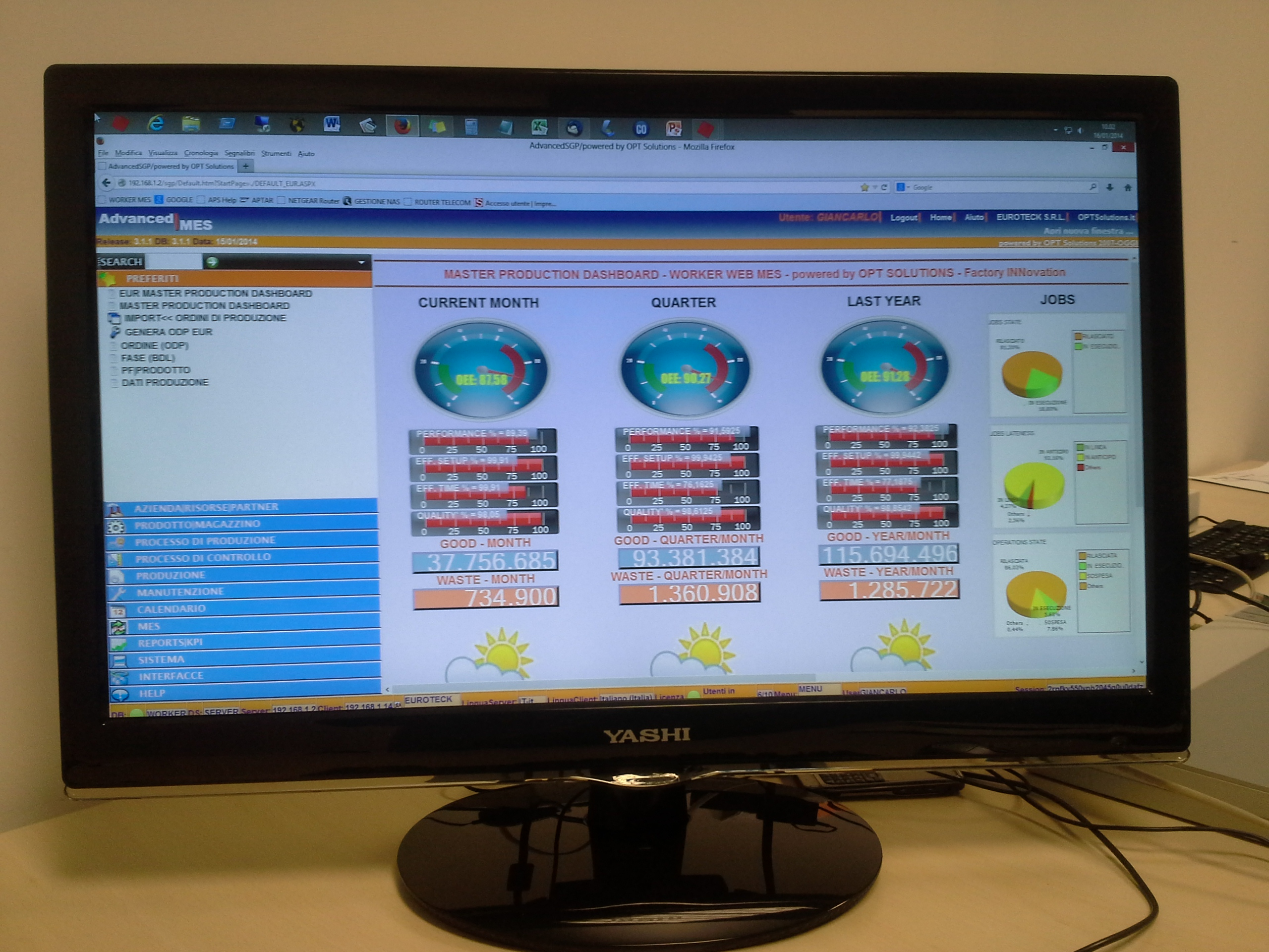 PRODUCTION CONTROL MAIN DASHBOARD OEE PERFORMANCE SETUP PLASTIC INJECTION ITALY OFFICE PLANNING CONTROL WORKER MES OPT SOLUTIONS